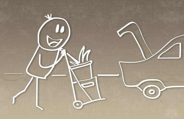 Wir helfen Ihnen beim Einladen in Ihren PKW.
